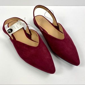 A New Day NWT Maroon Pointed Toe Ankle Wrap Flats